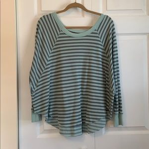Thermal striped loose top